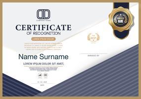 Certificat de reconnaissance modèle de mise en page modèle de conception de cadre au format A4