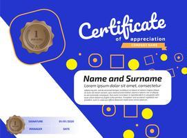Modèle de récompense de certificat d'appréciation. Certificat d'illustration au format A4