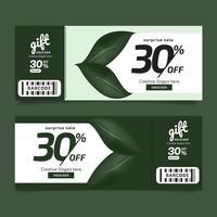 Bon cadeau Premium Design Nature Leaves Voucher Vert, modèle de coupon Doré, concept de design pour coupon cadeau