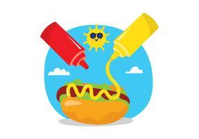 Hot Dog et Sauce vecteur