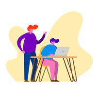 Illustration vectorielle de plat équipe travail objectifs corporatifs vecteur