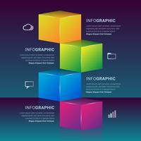 Élément d'étapes de graphique de boîte d'infographie 3D vecteur