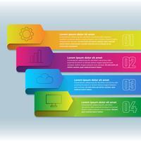 Ruban d'infographie 3D avec élément en quatre étapes vecteur