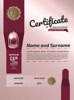 Modèle de récompense de certificat d'appréciation. Certificat d'illustration au format A4 vecteur