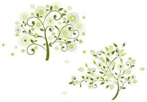 Pack d'arbres de vecteur floral vert