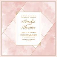 Modèle d'invitation de mariage aquarelle vecteur blush