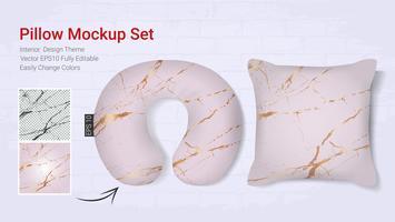 Modèle de maquette d'oreillers de voyage de voyage réaliste et étui de coussin de couverture.