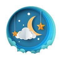 Paysage de nuit papier dessin animé. Lune, étoile, nuage, fleur