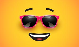 Haute émoticône colorée detiled avec lunettes de soleil, illustration vectorielle