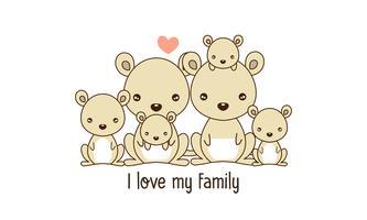 Kangourou Famille Père Mère et Nouveau-né. vecteur
