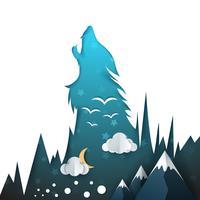 Illustration de loup. Paysage de papier dessin animé.