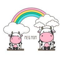 Vache et bébé se balancent sur un arc en ciel.