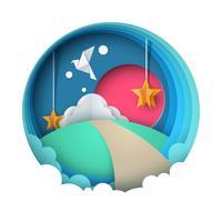 Paysage de papier dessin animé. Colombe, soleil, route, colline, nuage, étoile.
