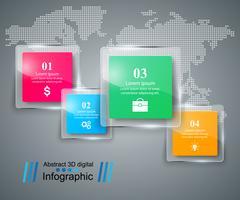 Style d'origami d'affaires infographie illustration vectorielle. Verre i