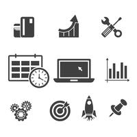 Fusée, carte, réparation, ordinateur, cible, icône infographique de fusée.
