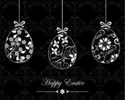 Papier peint de vecteur de joyeuses Pâques noir et blanc