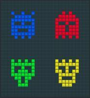 Ensemble de monstres de couleur