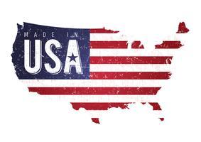 Carte américaine texturée vintage avec drapeau