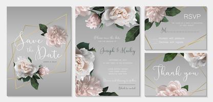 Suite d'invitation de mariage avec des fleurs.