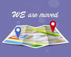 Concept en mouvement. Changement d'adresse, nouvel emplacement sur la carte de navigation. vecteur