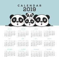 Calendrier 2019 avec de jolis pandas. vecteur