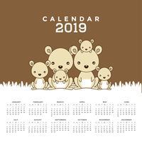 Calendrier 2019 avec des kangourous mignons.