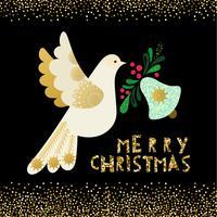 Colombe de paix. Carte d'invitation de Noël vecteur