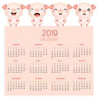 Calendrier 2019 avec des cochons mignons.