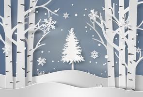 flocons de neige et sapin de Noël
