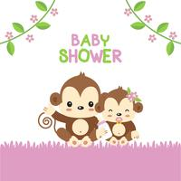 Carte de voeux de douche de bébé avec singe maman et bébé. vecteur