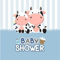 Carte de voeux de douche de bébé avec petite vache.