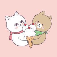 Dessin animé couple mignon et vecteur de crème glacée.