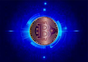 Abstrait de la monnaie numérique Bitcoin pour la technologie, les entreprises et le marketing en ligne, illustration vectorielle