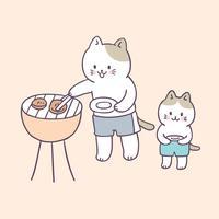 Vecteur de pique-nique de chats de famille été mignon de dessin animé.