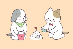 Vecteur de dessin animé été mignon chat et chien.