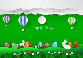 Fond de vacances de Pâques avec des oeufs sur l'herbe verte et le lapin blanc, style illustration art papier