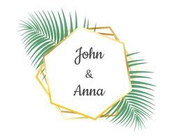 Conception de cartes d'invitation de mariage et cadre doré géométrique décoratif avec des feuilles tropicales - illustration vectorielle