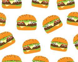 Modèle sans couture de cheeseburger savoureux sur fond blanc