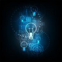 Technologie numérique dans le concept de l'ampoule. vecteur