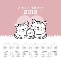 Calendrier 2019 avec des chats mignons.