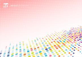 Texture de demi-teintes colorées abstraites points perspective de modèle sur fond rose à pois.