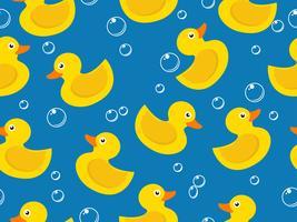 modèle sans couture de canard en caoutchouc jaune sur fond bleu