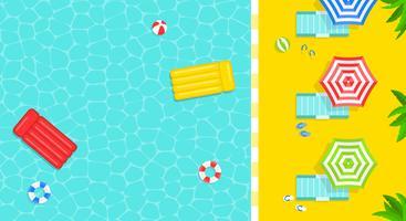 Vacances d'été, illustration vectorielle d'affiche de piscine vecteur