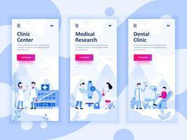 Ensemble de kit d'interface utilisateur d'écrans d'intégration pour la médecine, la recherche, la clinique dentaire, concept de modèles d'application mobile. UX moderne, écran d'interface utilisateur pour site Web mobile ou responsive. vecteur
