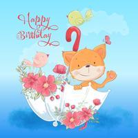 Carte postale affiche le renard mignon et un oiseau dans un parapluie avec des fleurs en style cartoon. Dessin à main levée.