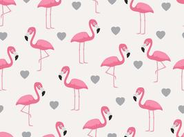 Modèle sans couture de flamant rose avec coeur sur fond pastel - illustration vectorielle vecteur
