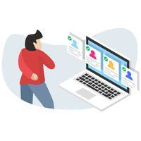 Jobs Recrutement Emploi Ressources Humaines Site Web Concept en ligne vecteur