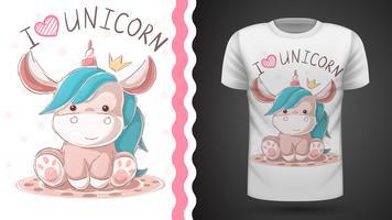 Licorne en peluche mignonne. Idée pour un t-shirt imprimé.