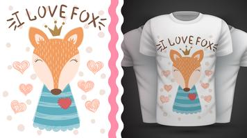 Renard mignon - idée d'un t-shirt imprimé.