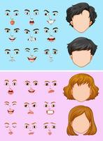 Homme et femme avec de nombreuses expressions faciales vecteur